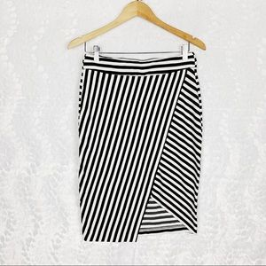 Striped Asymmetric Pencil Skirt by Cato